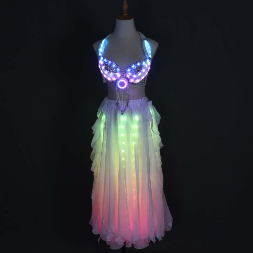 LED Color Lights Women Belly Dance Split Skirt Sexy Professional Bellydance Training Clothes Dancing Costumes