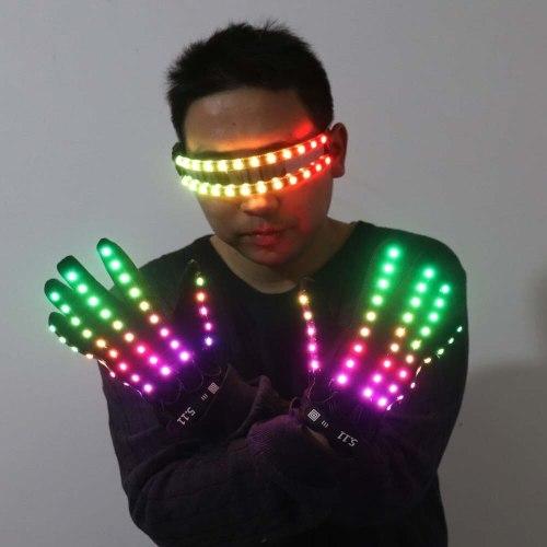 LED Glow Gloves Rave Flashing Finger Lighting Glasses Light Up Glasses Rave Costume Party Decor DJ SunGlasses Halloween Decorati
