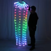 LED Full Color Belly Dance Silk Fan Veil Stage Performance Accessories Prop Light Bellydance LED Fans Shiny Rainbow