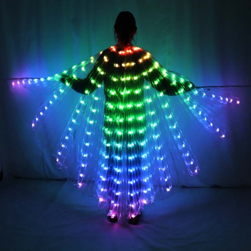 Women LED Isis Wings Remote Control Belly Dance Light Up Wings Butterfly Party Club Wear Flash Halloween Flexible Sticks