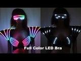 Full Color Laser LED Bra Colorful Shoulder Dance Costumes luminous Vest For Ballroom Bar DJ Disco Party Event Singer Sexy Wears
