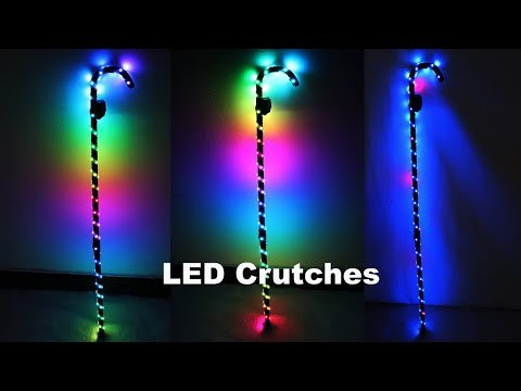 LED Crutch Light Up Cane Belly Dancing Flashing White Canes Women Men Jazz Dance For Stage Performance Party As Gift