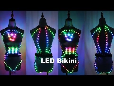 Full Color LED Light Club Dresses LED Sexy Bikini Bra Glow Dance Bar Nightclub GOGO Singer Performance Costume