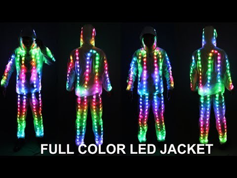 Full Color Pixel LED Lights Jacket Coat Pants Costumes Suit Light UP Rave Creative Outer Stage Costume Xmas Party Fancy Dress