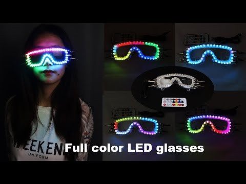 Full Color Led Luminous Glasses 7 Colors Flashing Halloween Party Mask Light Up Eyewear For DJ Club Stage Show
