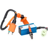 Racing Ignition Coil for 50cc 125cc 150cc Gy6 Moped Scooter ATV Go Kart with 6 Pins CDI and 3 Electrode Spark Plug
