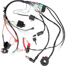 Complete Wiring Harness Loom Solenoid Coil Rectifier CDI 50-110cc ATV Dirt Bike