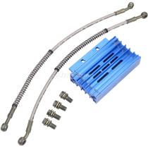Blue CNC Aluminum Oil Cooler For Chinese Pit Dirt Motor Bike Trail Motorcycle 110cc 125cc 140cc 150cc