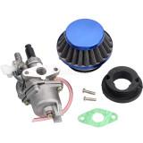 Blue Air Filter + Carburetor Carb + Stack For 2 Stroke 47cc 49cc Engine Parts Mini Moto Kids ATV Quad 4 Wheeler Go Kart