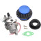 Blue Air Filter + Carburetor Carb + Stack For 2 Stroke 47cc 49cc Engine Parts Mini Moto Kids ATV Quad 4 Wheeler Go Kart