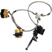 Front Dual Disc Brake Master Cylinder Hydraulic Caliper Assembly for 50cc 70cc 90cc 110cc 125cc ATV 4 Wheel Buggy Quad Bikes