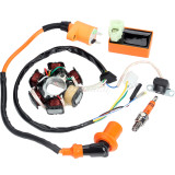Magneto Stator + Racing Ignition Coil + 6 Pins AC CDI Box + A7TC Spark Plug For Chinese GY6 49cc 50cc Engine Moped Scooter