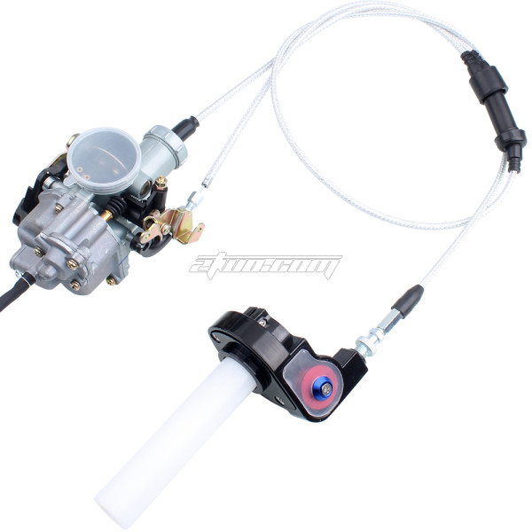 PZ30 30mm Carburetor Power Jet Accelerator Pump + Visible Throttle Twister + Dual Cable + Handlebar Grips For 200-250CC Chinese Pit Dirt Trail Motor Bike Motorcycle