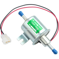 Inline Fuel Pump 12v DC Electric Transfer Universal Low Pressure Gas Diesel Fuel Pump 2.5-4 psi HEP-02A - Silver