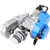 49cc Engine 2-Stroke Pull Start with Transmission 14T For Mini Moto ATV Quad Dirt Pit Bike Motorcycle Blue