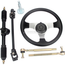 Round Steering Wheel Tie Rod Rack Adjustable Shaft Assembly Kit For 110cc - 250cc Engines Go Kart ATV