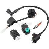 Ignition Coil Solenoid Relay Voltage Regulator 5-PIN CDI Box Spark Plug for 50cc 70cc 90cc 110cc 125cc ATV Go Kart Dirt Bike Pit Bike