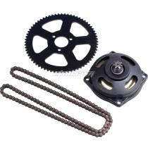 7 Tooth Clutch Drum Gear Box + 68T Rear Chain Sprocket + 25H Sprocket Chain 136 Links For 47cc 49cc 2 Stroke Mini Moto Pocket Bike ATV Quad 4 Wheeler Go Kart Scooter