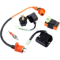 Racing GY6 Ignition Coil Voltage Regulator Rectifier Solenoid Relay 6 Pin AC CDI Spark Plug Kit for 50cc 125cc 150cc ATV Quad Go Kart Moped Scooter