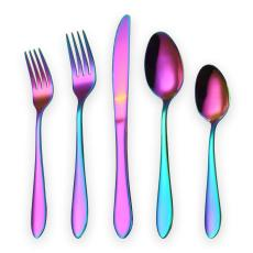 20 Piece Colorful Flatware Set, Service for 4 (Shiny Colorful)