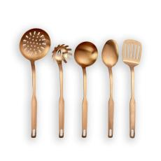 Berglander Stainless Steel Kitchen Utensil 5 Piece with Titanium Rose Gold Plated, Slotted Tuner, Ladle, Skimmer, Serving Spoon, Pasta Server. Copper Kitchen Tools Set (Matte Copper)