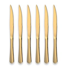 6 Titanium Gold Plated Stainless Steel Steak Knives