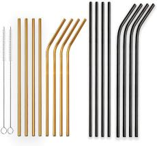 Reusable  Golden and Black Stainless Steel Drinking Straws Straight and Bent,Metal Straws with Brushes Set of 18