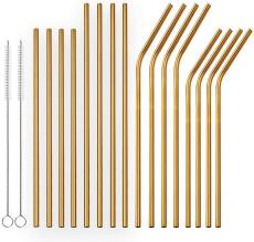 Reusable Golden  Drinking Straws Straight and Bent Metal Straws with Brushes Set of 18
