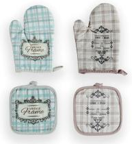 Berglander Oven Mitts and Potholders BBQ Gloves, Heat Resistant Oven Gloves Cooking Gloves Protect Hands, 2 Sets - 4 Pieces