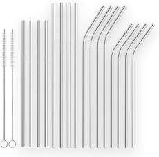 Reusable  Drinking Straws Straight and Bent Metal Straws with Brushes Set of 18