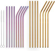 Reusable Golden Drinking Straw and Colorful Drinking Straws Straight and Bent Metal Straws with Brushes Set of 18