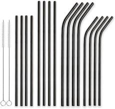 Berglander Reusable Titanium Plated Stainless Steel Drinking Black Straws Straight and Bent Metal Straws with Brushes for Milkshakes, Frozen Drinks, Smoothies, Bubble Tea, Set of 18