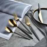 20-Piece Black Gold Flatware Set (Matt Black with Shiny Gold)