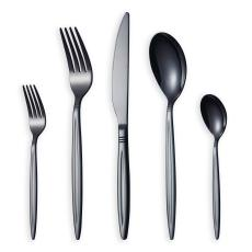 30 Piece Shiny Black Cutlery Set, Service Set for 6