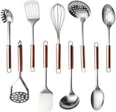 9 Pieces Kitchen Gadgets Cookware Set (Rose Gold Handle)