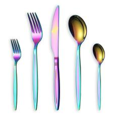 30-piece colorful cutlery set, service set for 6 (shiny rainbow)