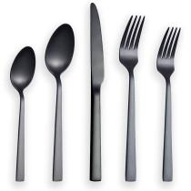 20 Pieces Matte Black Cutlery Set, Service For 4
