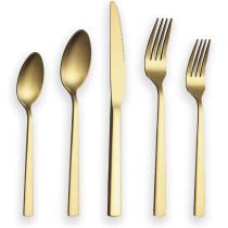 20 Pieces Matte Golden Cutlery Set, Service For 4