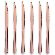 6 Rose Gold Plated Stainless Steel Steak Knives Pack of 6
