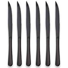 6 Black Titanium Plating Stainless Steel Steak Knives