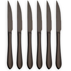 6-Piece Black Stainless Steel Steak Knives Set