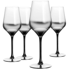 Berglander Red Wine Glass 13-Ounce, 9 , Hand Blown Crystal Glass Stemware, Elegant Glass, Great for Parties, Weddings, Valentine's Day and Gifts,Set of 4 (Clear with Black Gradient)