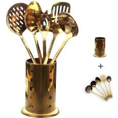 6 Pieces Gold Nonstick Kitchen Utensils Set(With Basket)