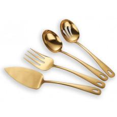 4 Pieces Golden Titanium Plated Flatware Serving Set