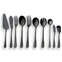 10 Pieces Black Serving Flatware Set