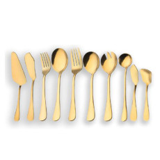 10 Pieces Golden Serving Flatware Set