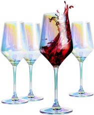 Berglander Red Wine Glass 13 Ounce, 390ml, Lead Free, Premium Crystal Glass, Perfect for Parties, Wedding and Gifts,Set of 4 (Colorful Wine Glass)