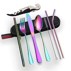 Berglander Portable Rainbow Flatware, Colorful Camping Flatware with a Bottle Openner, Silverware for School/Work/Office/Outdoor, Set of 9 Pieces. (Rainbow)