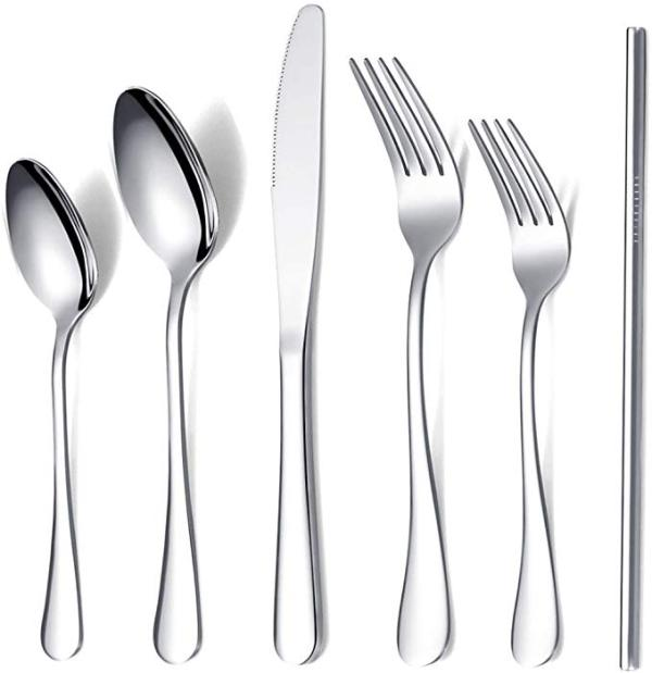 20 Pieces Flatware Set , Plus 4 Stainless Steel Reusable Straw,Service for 4