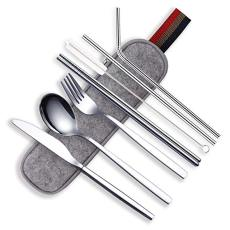 Berglander Portable Utensils,Travel Camping Flatware Set,Stainless Steel Silverware Set,Include Knive/Fork/Spoon/Chopsticks/Straws/Brush/Portable Case(Silver-8 Piece)